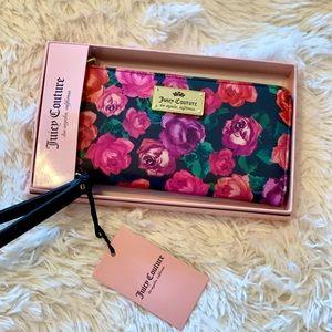 Juicy couture black rose wallet wristlet NWT